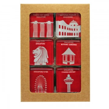GLASS MAGNET ICONIC ARCHITECTURE RED (SQUARE)