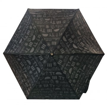 FOLDABLE UMBRELLA MOTIF BLACK (LIGHTWEIGHT & UV COATED)