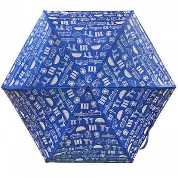 FOLDABLE UMBRELLA MOTIF BLUE (LIGHTWEIGHT & UV COATED)