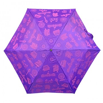 FOLDABLE UMBRELLA MOTIF PURPLE (LIGHTWEIGHT & UV COATED)